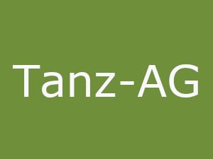 Tanz-AG - Grüner Hintergrund. Weißer Text